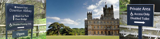 Downton Abbey with National Trust signs